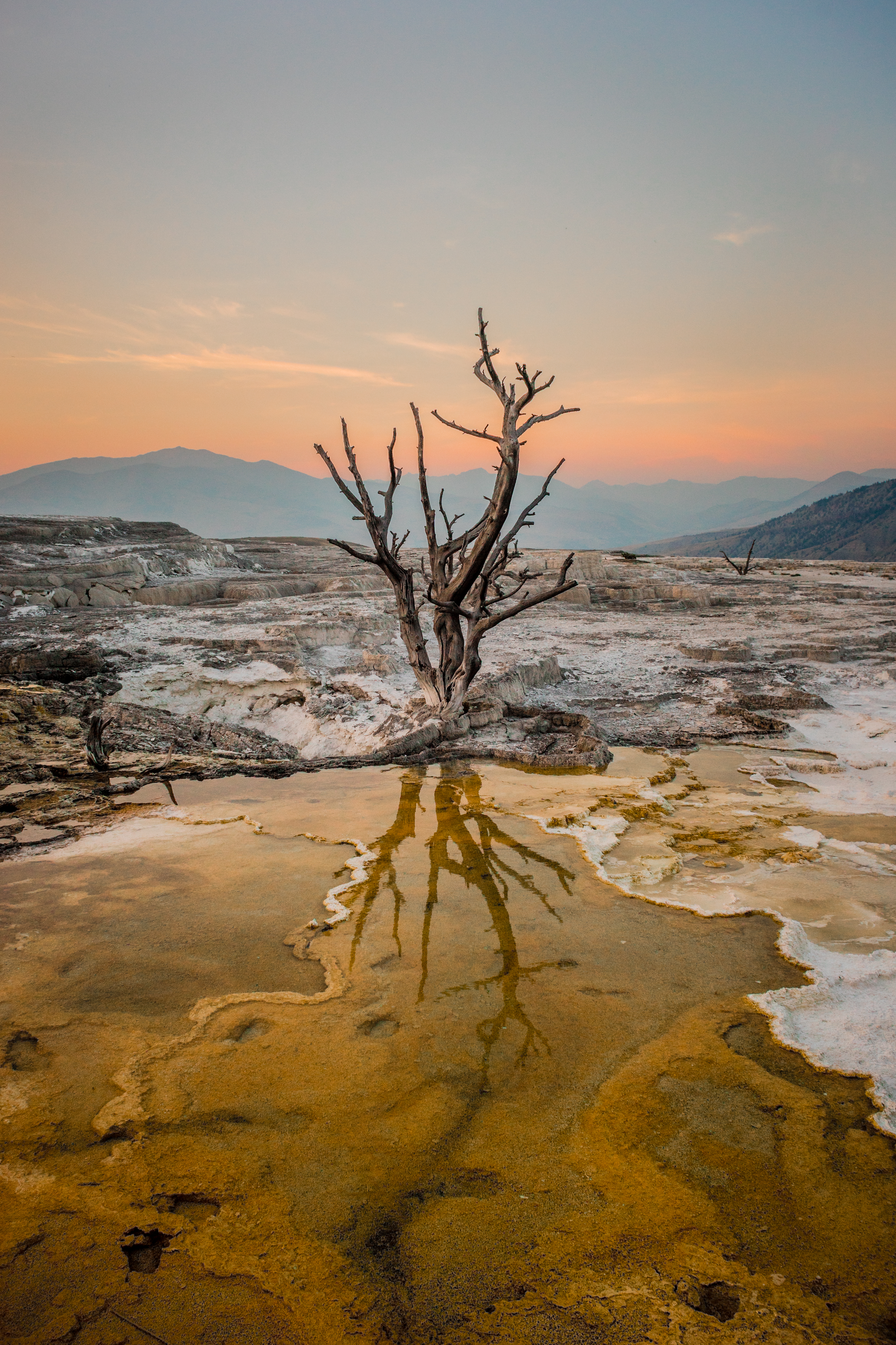 """Sunset in Mammoth Springs"" by David Pisciotta"