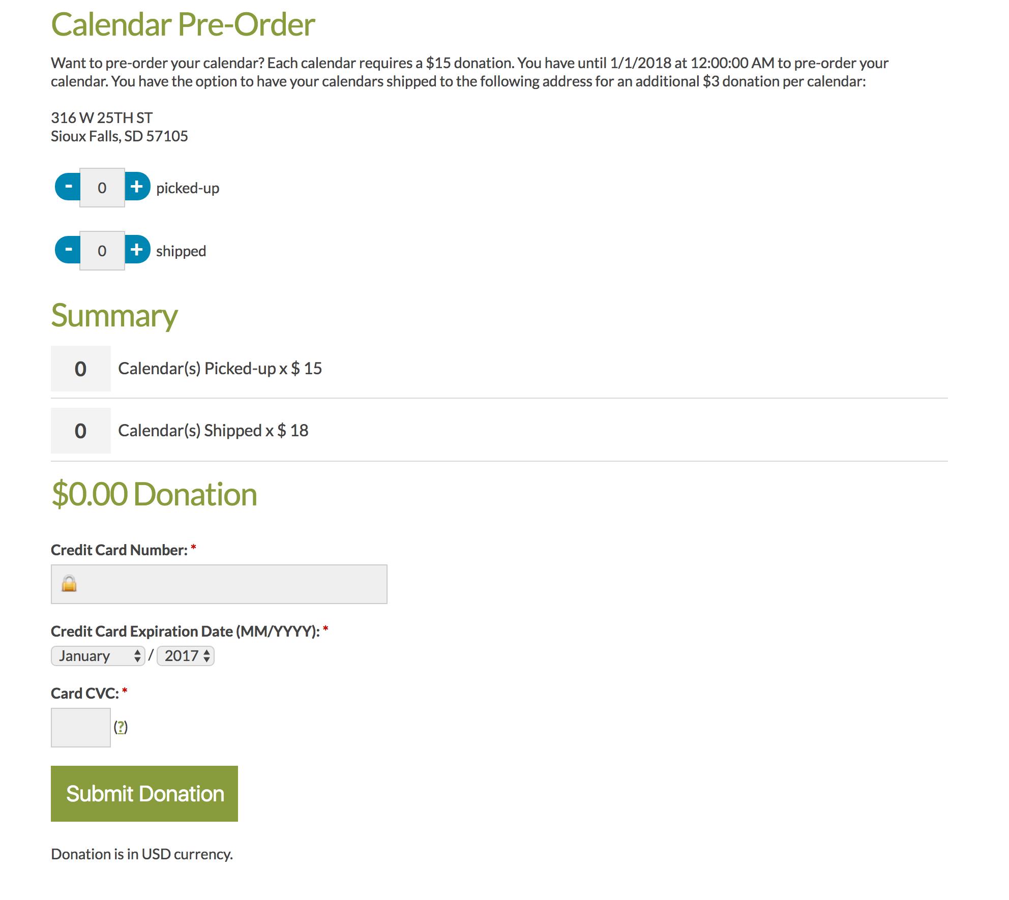 Calendar Pre-Sale Module   GoGo Photo Contest